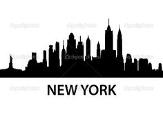 nyc skyline outline new york city skyline silhouette vinyl wall rh pinterest com nyc skyline clipart free NYC Skyline Line Art