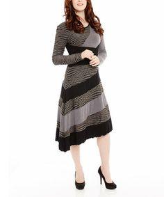 Look at this #zulilyfind! Gray & Black Stripe A-Line Dress by Miss Nikky #zulilyfinds