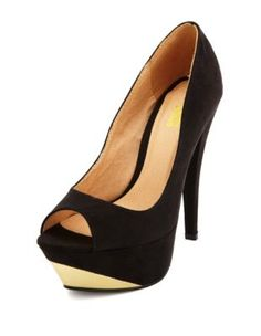 metallic sueded peep toe pump
