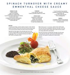 Celebrity Cruises Recipe for  Spinach Turnover with Creamy Emmenthal Cheese Sauce