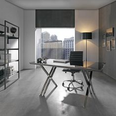 Mesa rectangular de cristal templado con base de acero cromado #kimobel, #decoración, #diseño, #muebles. http://muebleskimobel.com