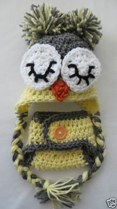 ❤ BabyLuv Crochet NB SLEEPY OWL Hat /Cover Set * Gender Nuetral * Shower Gift Bargain*Basket on Ebay