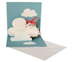 Plane in the clouds Pop Up Card 3d Cards, Pop Up Cards, Paper Cards, Cool Cards, Folded Cards, Paper Pop, Diy Paper, Arte Pop Up, Pop Up Karten