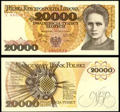 """1974 series Polish banknote, featuring the Polish nuclear physicist Marie Curie and the coat of arms of Poland on the obverse side, and the nuclear reactor """"Ewa"""" on the reverse side. Win For Life, Money Notes, True Faith, Rich Money, Life Page, Marie Curie, Old Money, My Kind Of Town, World"""