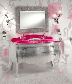 Not for everyone. Love the bombe chest in silver foil. And the hot pink counter and sink: so fun, but likely not ideal for re-sale!