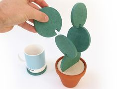 These Cacti Coasters Turn Into A Fake Decorative Succulent When Not In Use