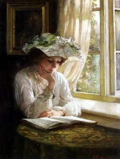 Benjamin T. Kenninghton (1856-1916), Lady Reading By A Window