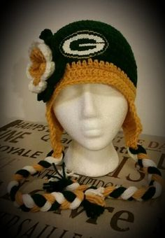 Green Bay Packers inspired crochet hat by jetaimeboutique83406