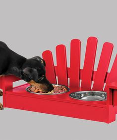 Red Adirondack-Style Pet Feeder #zulily With this wooden Adirondack chair-styled pet feeder, you can give your pet the most stylish spot to eat or drink