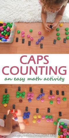 Caps Counting - HAPPY TODDLER PLAYTIME This is a fun and simple to set up math activity using dominoes and squeeze pouch caps (buttons, pom poms whatever)! Perfect for preschoolers and kindergartners. Numbers Preschool, Preschool Curriculum, Math Numbers, Preschool Lessons, Math Classroom, Kindergarten Activities, Preschool Activities, Maths, Stem Preschool