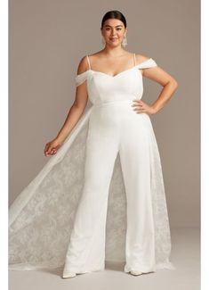 Plus Size Jumpsuit, Jumpsuit With Train, Jumpsuit Dress, Vestidos Plus Size, Plus Size Dresses, Wedding Reception Outfit, Wedding Ceremony, Wedding Pantsuit, Plus Size Wedding Gowns