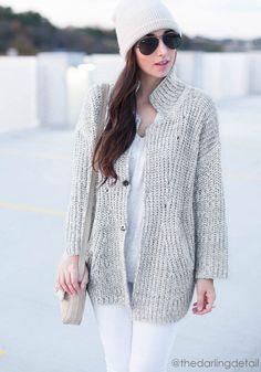 Grey Oversized Coat - Unlined Knit Coat