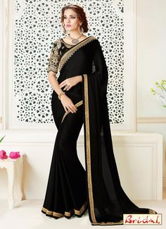 Make the heads turn the moment you costume up in this sort of a charming black faux georgette and satin classic designer saree. The amazing attire creates a dramatic canvas with superb embroidered and...