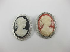 "Vintage Lot Of 2 Lady Cameos Black And Coral Color Brooch Pins ""Junk Drawer"""