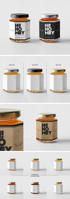 Jar A super realistic honey jar mockup with extensive customization options. Now its really easy to turn your work presentation in an eye candy shot. Honey Packaging, Food Packaging Design, Bottle Packaging, Packaging Design Inspiration, Brand Packaging, Product Packaging, Honey Jar Labels, Honey Label, Honey Jars