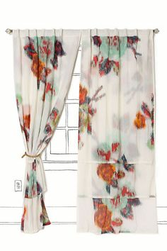 Anthropologie Ikat Rose Curtains (back wall)