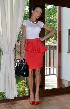 cute asymmetrical peplum skirt  Find similar skirt here: http://shop-the-collection.enstore.com/item/the-jewel-skirt $66.00