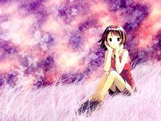 Cute Anime Girl On Grass Desktop Backgrounds