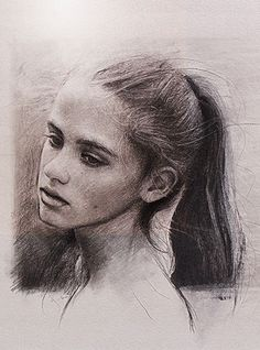"""Portrait of Lisa"" - Jos van Riswick {contemporary figurative art beautiful female head woman face cropped drawing} josvanriswick.com"