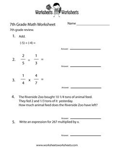 Math Worksheets 7th Grade