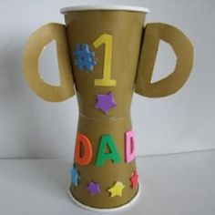 Father's Day Trophy Cup Craft...or use for Camp Awards, Cub Scouts, Youth Activity Awards. Fun and easy trophy idea