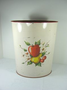 Perfect for the vintage style kitchen! Vintage FRUIT TRASH CAN Rustic Red Waste Basket Receptacle Decoware Circa 1950s by LavenderGardenCottag on Etsy