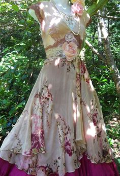 Floral  maxi dress plum lace rose boho  vintage  romantic medium by vintage opulence on Etsy