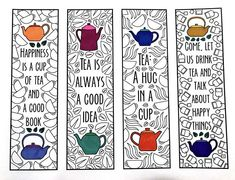 Tea Quote Bookmarks PDF Zentangle Coloring Page