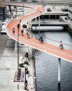 """Bicycle Snake"" cycle bridge, Copenhagen, Denmark. (2014) Design…:"