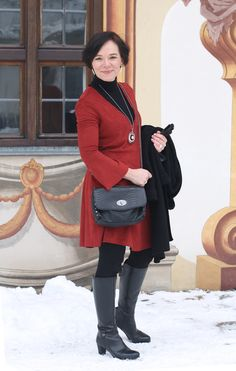 Styling for winter: Red tunic dress, warm leggings and boots