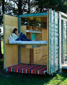 Shipping container homes, offices and buildings offer low cost, efficiency and flexibility. Container architecture is taking off, bringing green building many benefits. See some of the coolest new designs around the world. Shipping Container Cabin, Cargo Container Homes, Container Buildings, Container Architecture, Shipping Containers, Container Houses, Container Office, Sustainable Architecture, Container Home Designs