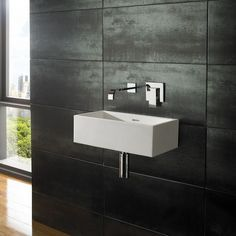 Wall Mounted Alto Pure White Solid Surface x Rectangular Basin - No Tap Hole Small Toilet Room, Basin Sink Bathroom, Solid Surface, Wall Mounted Taps, Rectangular Sink Bathroom, Bathroom Basin, Wall Mounted Basins, White Wall Hanging, Sink