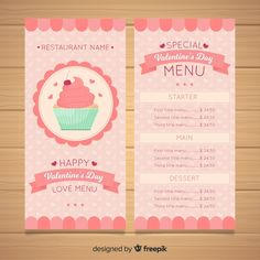 Bakery Branding, Bakery Menu, Event Flyer Templates, Menu Template, Cafeteria Menu, Cake Logo, Yummy Cupcakes, Yummy Donuts, Valentines Day Background