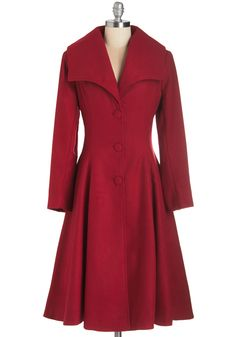 Intrigue All About it Coat in Crimson - Long, Woven, Red, Solid, Buttons, Pleats, Party, Holiday Party, 30s, 40s, Long Sleeve, Fall, Winter, Better, 3, Red, Pockets, Vintage Inspired, Variation