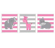 Nursery Art  Elephant Giraffe Hippo Safari Wall Art - Pink GrayStripes  Print Set 3 8x10 - Baby Girl Children Kid Room Home Decor Wall Art
