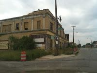 Abandoned Shops and storefront churches on Detroit, Michigan's Elmhurst Street.