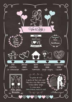 Poster Era uma vez Casal | eMotion festas personalizadas | Elo7 Wedding Cards, Wedding Invitations, Wedding Day, Chalk Lettering, Chalkboard Art, Event Design, Open House, Diy Gifts, Wedding Decorations