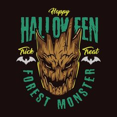 Colorful Forest Monster apparel design. Download 44 halloween vector designs on our website. High quality vector illustrations, editable text.