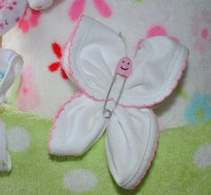 Baby washcloth and diaper pin butterfly