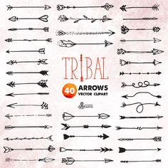 Tribal Arrows Clipart: 40 vector digital files. by OctopusArtis