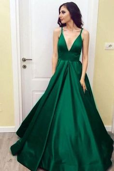 Simple V-Neck Floor-Length Satin Prom Dress with Pockets-Pgmdress