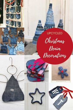 You can upcycle and repurpose your old jeans to make some fabulous denim Christmas decorations. Here are some of the best denim Chrismtas decoration ideas. Christmas Home, Christmas Crafts, Christmas Decorations, Christmas Ideas, Christmas Sewing, Green Christmas, Christmas Ornaments, Upcycled Crafts, Repurposed
