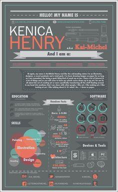 Resume infographic & Advice Infographic Resume by Kai-Michel Henry, via Behance. Image Description Infographic Resume by Kai-Michel Henry, via Resume Cv, Resume Tips, Resume Design, Resume Ideas, Cv Curriculum, Creative Curriculum, Design Social, Web Design, Graphic Design