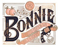 Bonnie and Clyde by Perly Yon. Elegant and colorful typography: graphic design art nouveau pink gold black peaches lettering inspiration. Vintage Typography, Typography Letters, Graphic Design Typography, Lettering Design, Hand Typography, Japanese Typography, Vintage Graphic Design, Typography Poster, Bonnie Clyde
