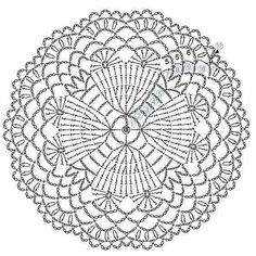 The scheme of knitting Christmas potholders - crochet snowflakes Crochet Mandala Pattern, Crochet Circles, Crochet Stitches Patterns, Crochet Diagram, Crochet Round, Crochet Chart, Thread Crochet, Crochet Doilies, Crochet Lace