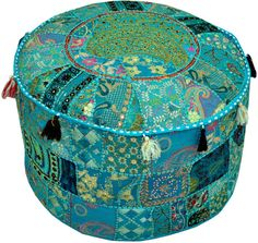 Round Ottoman Pouf decorative Cushion Ethnic Indian Decor Art bohemian stool chair pouffe pouffes Indian floor PILLOW bean bag Decoration