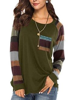 Women's Casual Long Sleeve Round Neck Green Loose Tunic T Shirt With P – Sampeel Casual Tops For Women, Trendy Tops, Tunic Shirt, Shirt Blouses, Shirt Outfit, Long Wool Coat, Casual T Shirts, Women's Casual, Simple Shirts