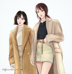 Gfriend - Yuju and Eunha fanart (yujuna) Cool Anime Girl, Kawaii Anime Girl, Anime Art Girl, Korean Photography, Cute Love Pictures, Yuri, Bff Drawings, Girl Korea, Cartoon Art Styles