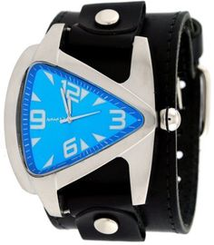 Men's Wrist Watches - Nemesis LBB011L Mens Teardrop Blue Dial Black Wide Leather Cuff Band Watch >>> Click image to review more details.