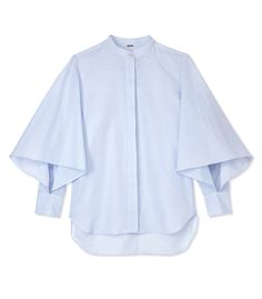 Adam Lippes Light Blue Flounce Shirt